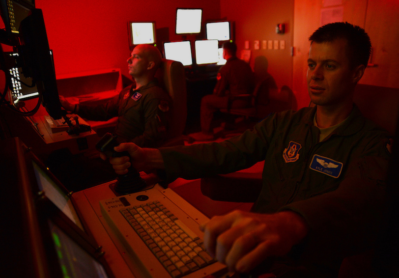 A remotely piloted aircraft crew flies a simulated training mission (U.S. Air Force photo by Staff Sgt. N.B./Released)