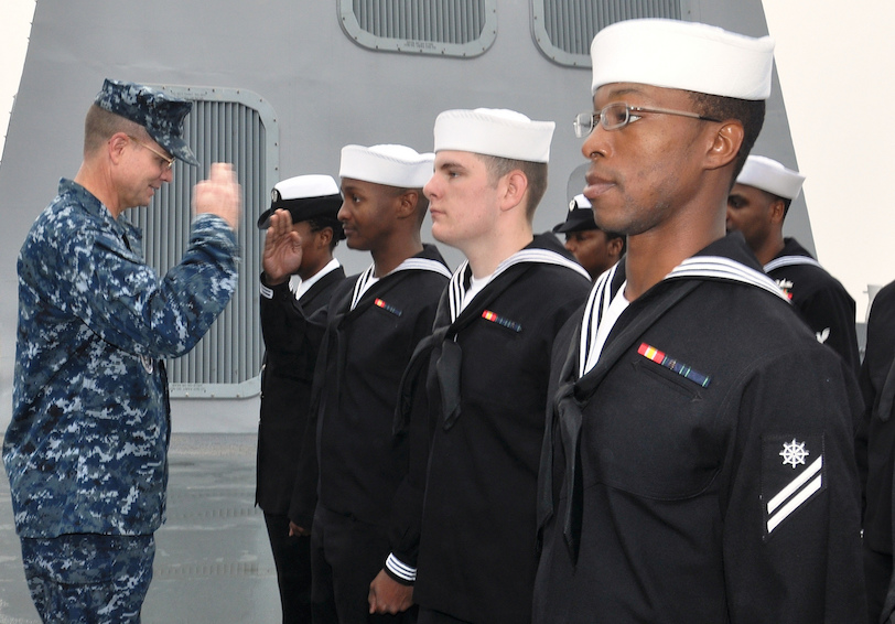 An officer conducts a uniform inspection. (U.S. Navy photo by Mass Communication Specialist 1st Class Eric Brown/Released)
