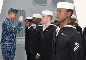 An officer conducts a uniform inspection   U S  Navy photo by Mass Communication Specialist 1st Class Eric Brown Released
