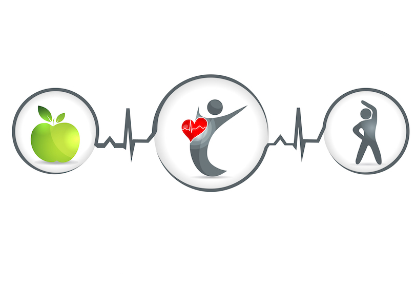 Health concept. Apple, healthy person, active person.