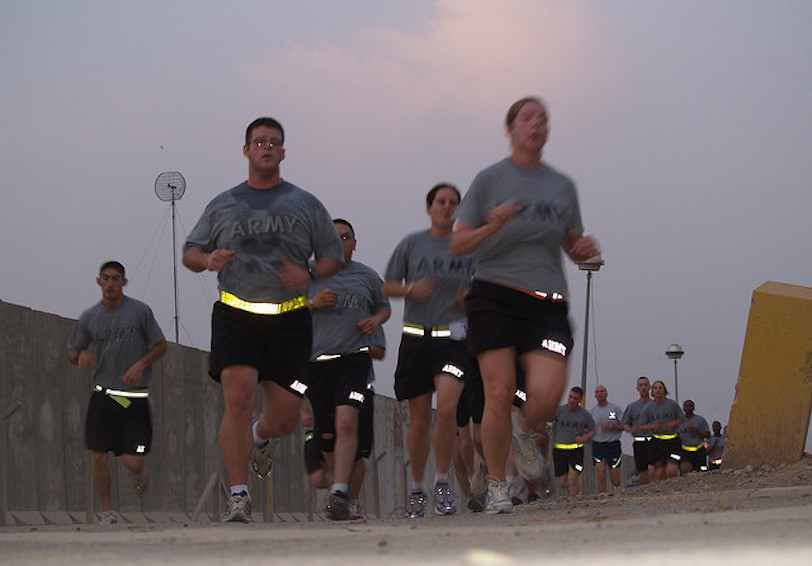Soldiers in PT gear running together  US Army photo