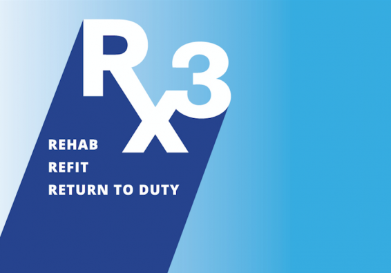 RX3 Logo: Rehab, Refit, Return to Duty.