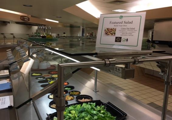 Go for Green salad bar with Featured Salad sign.