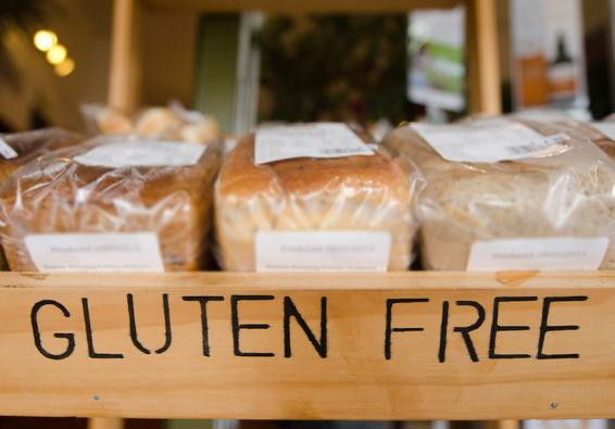 Loaves of gluten free bread on store shelf