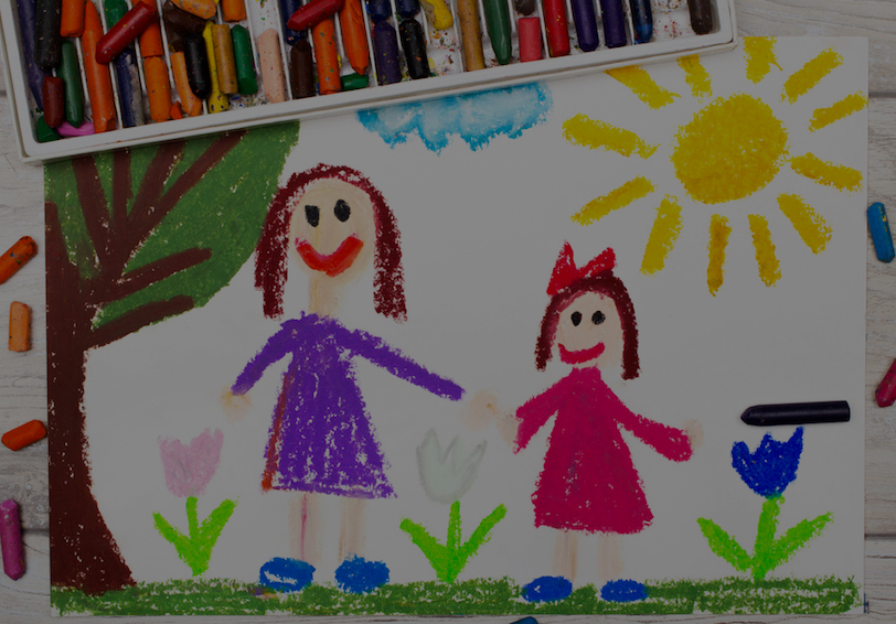 Child's drawing of a mother and daughter holding hands