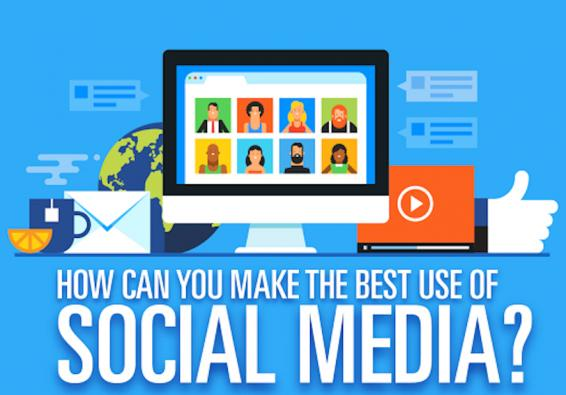 Teacup, envelope, globe, computer with social media images, and thumbs-up symbol. How can you make the best use of social media?