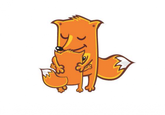 Cartoon drawing of fox parent and child hugging