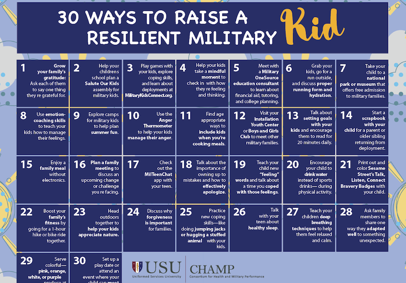 30 ways to raise a resilient military kid calendar