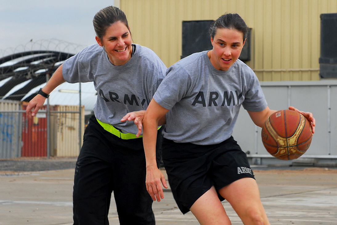 Women playing basketball (U.S. Army photo by Spc. Samuel Soza)