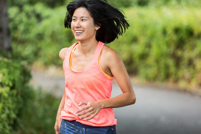 Woman running without headphones or electronics