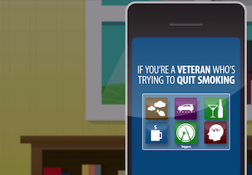 Still from video showing a cell phone with the words  If you re a veteran who s trying to quit smoking